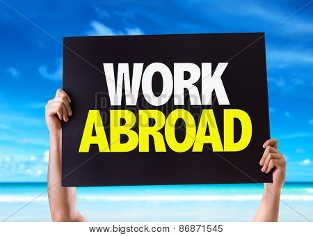 Work Abroad card with beach background