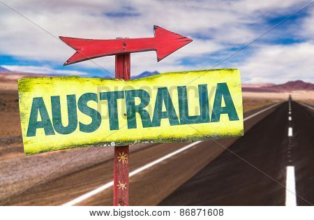 Australia sign with road background