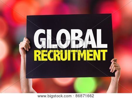 Global Recruitment card with bokeh background