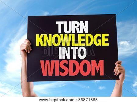 Turn Knowledge into Wisdom card with sky background