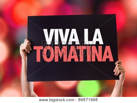 Cheers for the Tomatina Party (in Spanish) card with bokeh background