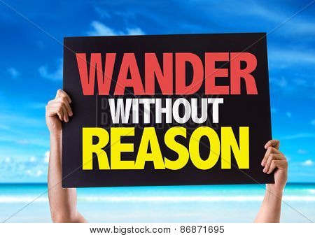 Wander Without Reason card with beach background