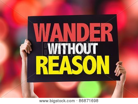 Wander Without Reason card with bokeh background