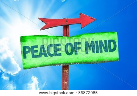 Peace of Mind sign with sky background