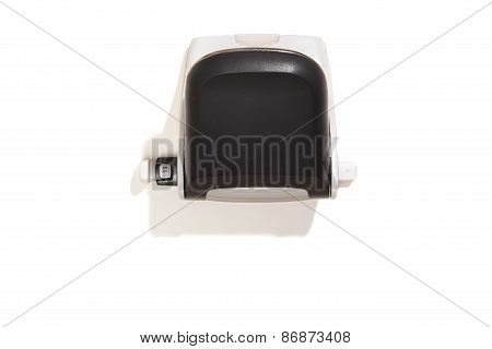 Hole Puncher, Black, Top View, Isolated On White
