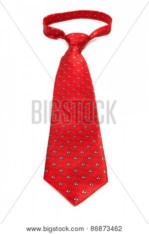 beautiful modern red tie on a white background