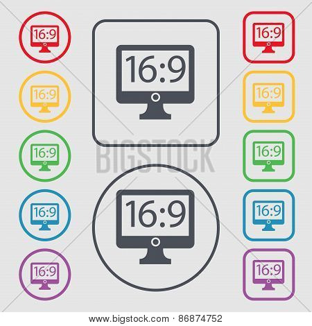 Aspect Ratio 16 9 Widescreen Tv Icon Sign. Symbol On The Round And Square Buttons With Frame. Vector