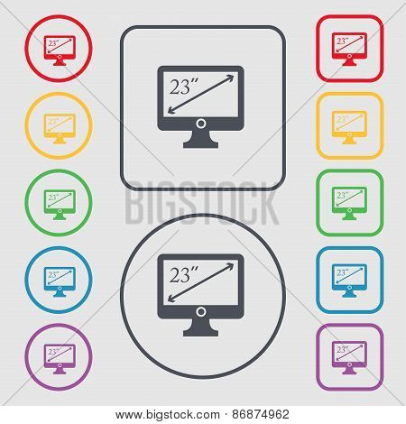 Diagonal Of The Monitor 23 Inches Icon Sign. Symbol On The Round And Square Buttons With Frame. Vect