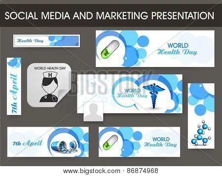 Set of social media and marketing header, banner for World Health Day concept.