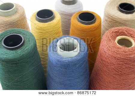 Multicolor Background From Threads And Yarns Isolated