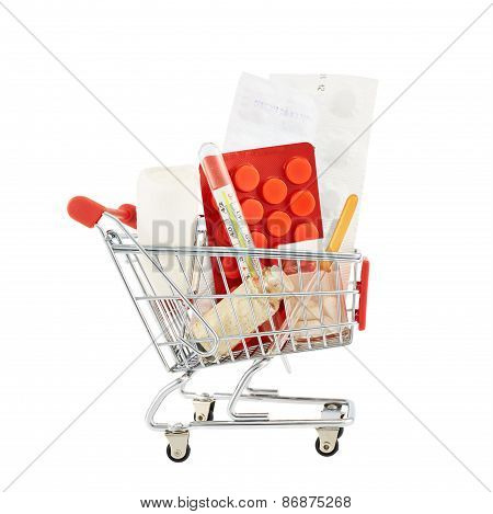 Medicines and drugs in a cart