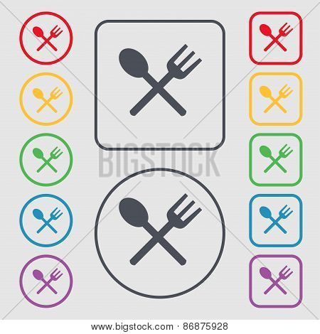 Fork And Spoon Crosswise, Cutlery, Eat Icon Sign. Symbol On The Round And Square Buttons With Frame.