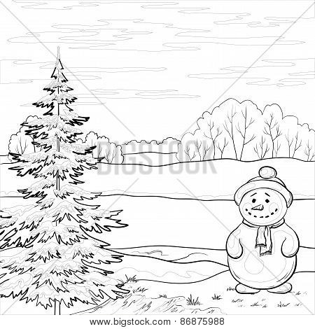 Snowman and Christmas tree, contours