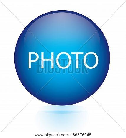 Photo blue circular button