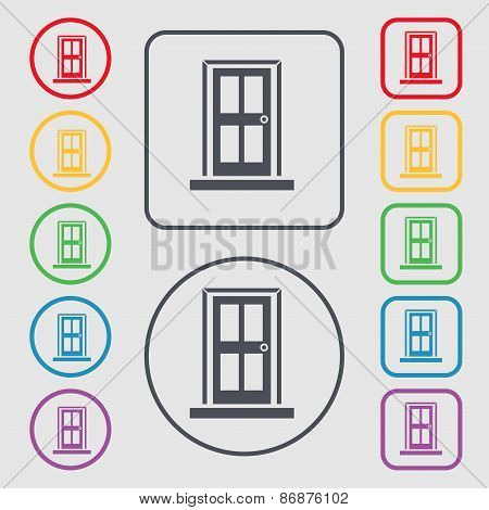 Door Icon Sign. Symbol On The Round And Square Buttons With Frame. Vector