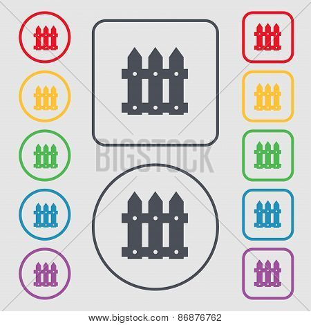 Fence Icon Sign. Symbol On The Round And Square Buttons With Frame. Vector