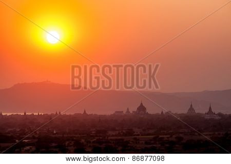 The Temples Of Bagan On Sunset