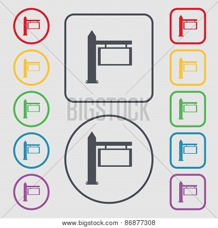 Information Road Sign Icon Sign. Symbol On The Round And Square Buttons With Frame. Vector