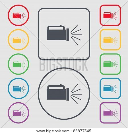 Flashlight Icon Sign. Symbol On The Round And Square Buttons With Frame. Vector
