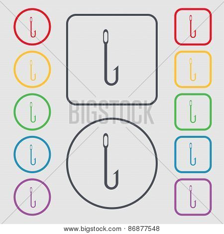 Fishing Hook Icon Sign. Symbol On The Round And Square Buttons With Frame. Vector