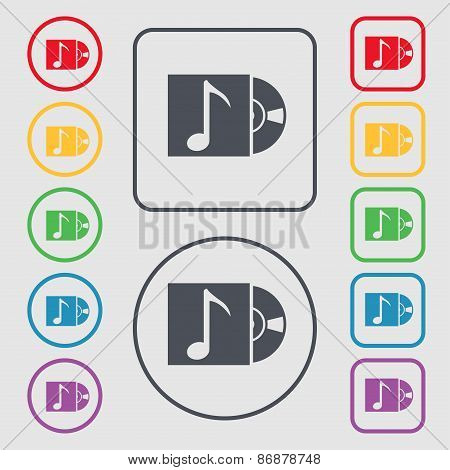 Cd Player Icon Sign. Symbol On The Round And Square Buttons With Frame. Vector