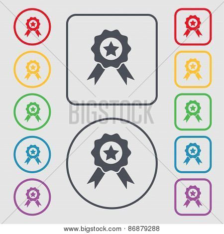 Award, Medal Of Honor Icon Sign. Symbol On The Round And Square Buttons With Frame. Vector