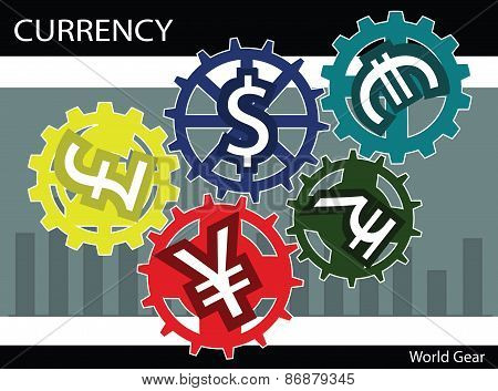 Vector Illustration Currency Money Dollar Pound Euro Concept