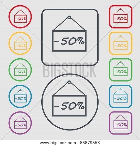 50 Discount Icon Sign. Symbol On The Round And Square Buttons With Frame. Vector