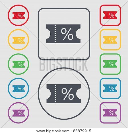 Ticket Discount Icon Sign. Symbol On The Round And Square Buttons With Frame. Vector