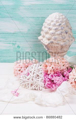 Background With Fresh Pink  Hyacinths And Decorative Terracotta Cone