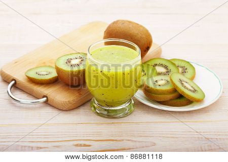 Fresh Juice And Fruits On White Background.