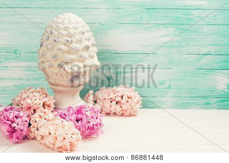 Postcard With Fresh Flowers Hyacinths