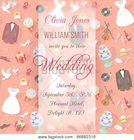 Wedding Invitation Card with Blurred Pattern