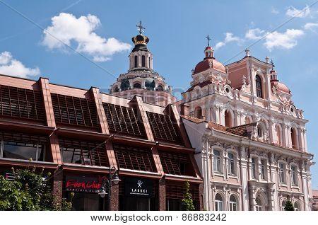 St. Casimir church facade in Vilnius, Lithuania