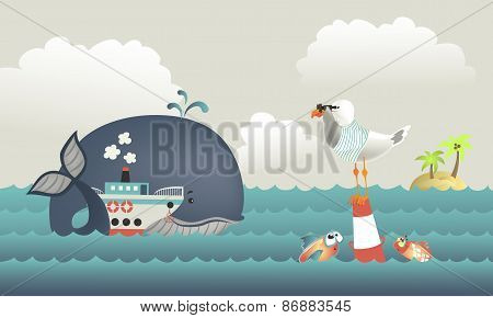 Whale,steamship and seagull in blue sea