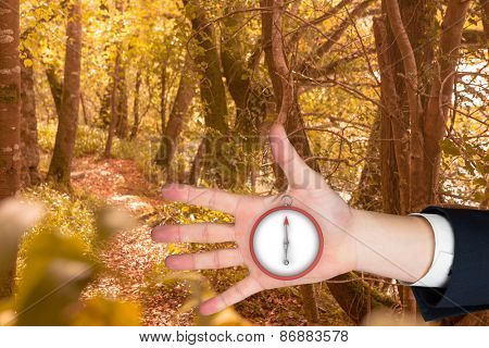 Hand with fingers spread out against tranquil autumn scene in forest