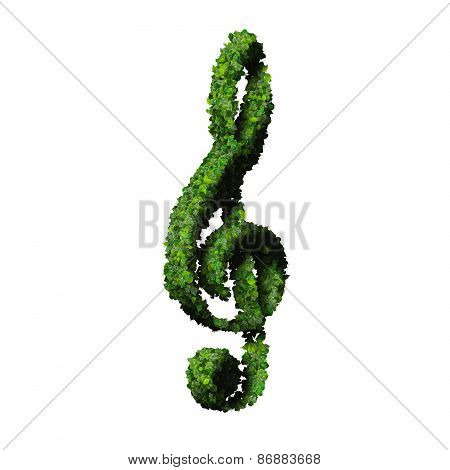 Musical note clef symbol made from green leaves isolated on white background.