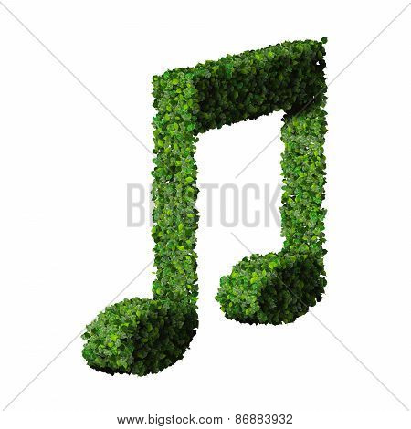 Musical note double eight symbol made from green leaves isolated on white background.