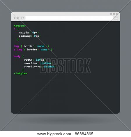 Flat browser window with code. Vector illustration