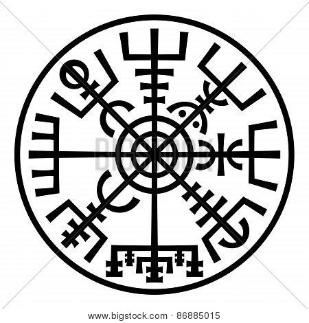 Vegvisir. The Magic Compass of Vikings. Runic Talisman (In The Ring).