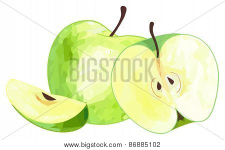 Delightful Garden - Green Apple And Its Slice And Half With Polygonal Pattern