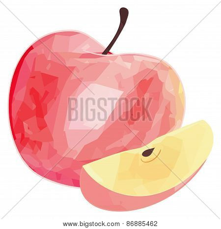 Delightful Garden - Red Apple And Its Slice With Polygonal Pattern