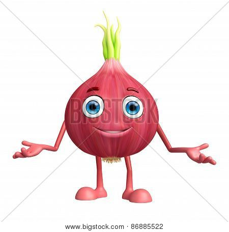 Onion Character With Presentation Pose
