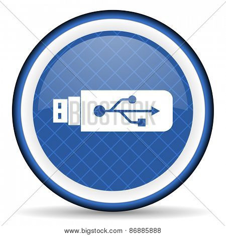 usb blue icon flash memory sign