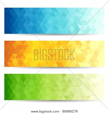 Set of abstract geometric polygonal banners - raster version