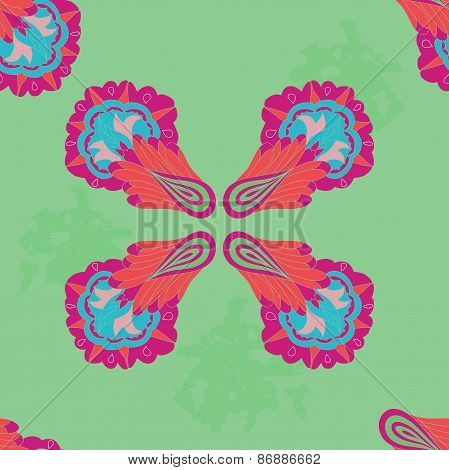Seamless pattern with colorful symmetric ornament