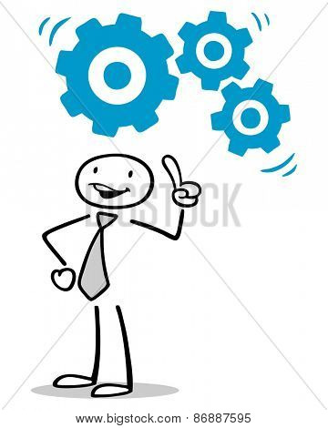 Gears over head of business man as concept for inspiration and ideas