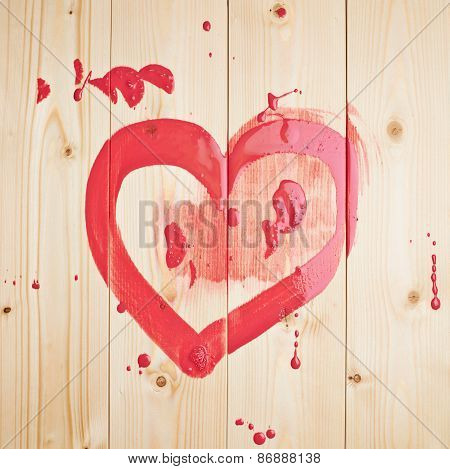 Red heart drawn over the boards