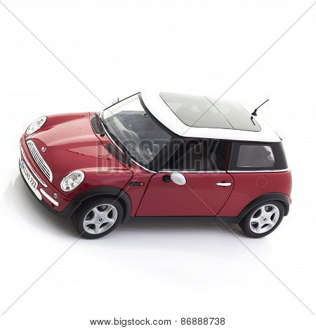 New Style Mini Cooper On A White Background