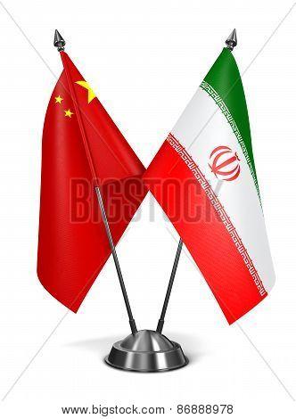 China and Iran - Miniature Flags.